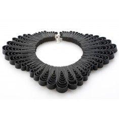 Black Coral Collar Necklace by independent designer Belles Bejewelled Multiple loops of black bounded leather.