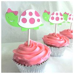 Hey, I found this really awesome Etsy listing at https://www.etsy.com/listing/166463513/pink-and-green-turtle-cupcake-sticks-12