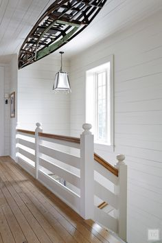 Entry and Hall in A Seaside Cottage by Tammy Connor Interior Design on Cottage Staircase, Rustic Staircase, House Stairs, Interior Stair Railing, Stair Railing Design, Staircase Railings, Spiral Staircases, Stairways, Staircase Remodel
