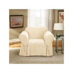 Sure Fit Soft Suede Chair Slipcover, White