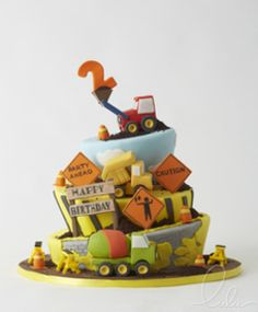 Construction cake, Kid's birthday cake! Beautiful cake by Lulu Scarsdale www.everythinglulu.com