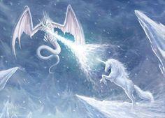 Ice dragon fighting a unicorn | Dragons, Mythical, Fantasy, Art