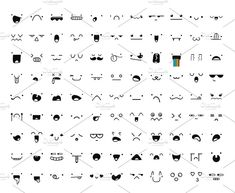 Set 99 different doddle emotions by Modern vector on Creative Market - 学漫画 Emoji Drawings, Easy Doodles Drawings, Doodle Art Drawing, Cute Easy Drawings, Cute Kawaii Drawings, Simple Doodles, Kawaii Doodles, Cute Doodles, Doodle Characters