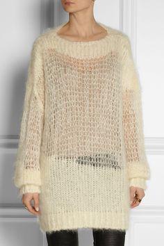 Acne Studios|Ocean H open-knit mohair-blend sweater|NET-A-PORTER.COM