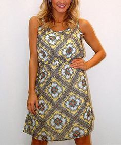 Yellow & Gray Arabesque Scoop Neck Dress by Urban Mango #zulily #zulilyfinds