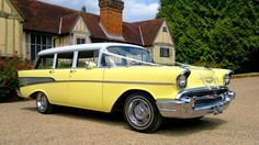 This superb American Chevrolethails from the era of the fabulous fifties, the time when Elvis was King and Bill Hailey Rocked around the Clock ! A rare and interesting vehicle rarely seen as available for wedding hire so if you prefer a unique style of vehicle then this Chevrolet has to be the choice, with coachwork in Buttercup Yellow and White and the interior in Light Grey and Yellow brocade this car is the epitome of America's 50's classic motoring. Easy access is afforded from the…