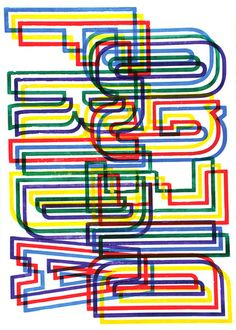 Outlined letters overlapping. Difficult to read at first. Lots of colour.
