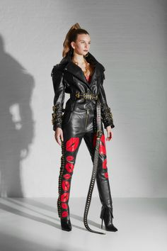 Fashion Desinger, Leather Trousers, Fashion Studio, Gold Chains, Embroidery Designs, Punk, Red Heels, Kisses, Collection