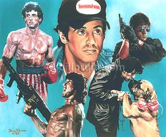 Sylvester Stallone Rocky Balboa Rambo Cobra art print signed and dated Bill Pruitt Arnold Schwarzenegger, Stallone Schwarzenegger, Sylvester Stallone, Stallone Cobra, Stallone Rocky, Chuck Norris, Keanu Reeves, Bruce Willis, Stallone Movies