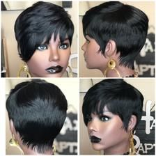 Feathered Bangs, Feathered Hairstyles, Wig Hairstyles, Bob Cut Wigs, Pixie Cut Wig, Pixie Bob, Short Pixie, Black Pixie Cut, Swoop Bangs