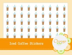 Iced Coffee Stickers Planner Stickers Coffee by OrangeKiwiDesign