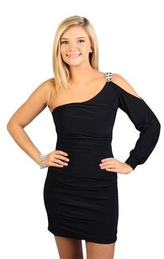 one shoulder club dress with long sleeve and stone strap.. I WANTT!!! <3