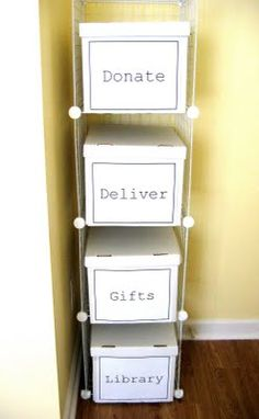 Donate. Deliver. Gifts. Library. #organization ideas.
