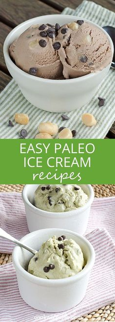 Paleo - Easy ice cream recipes that are dairy-free, gluten-free, paleo versions of your favorite flavors. Youll never miss traditional ice cream with these. - It's The Best Selling Book For Getting Started With Paleo Paleo Ice Cream, Easy Ice Cream Recipe, Dairy Free Ice Cream, Cusinart Ice Cream Recipes, Ice Cream Flavors, 13 Desserts, Desserts Sains, Dessert Recipes, Paleo Sweets