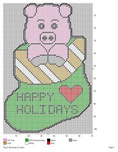 PIG IN STOCKING by KATHY -- WALL HANGING