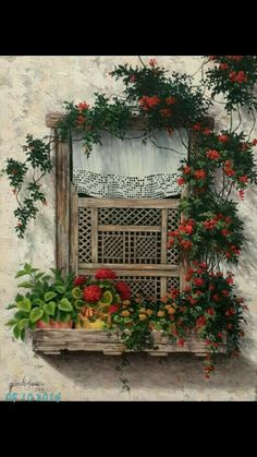 Culture tradition grandmother window old vintage Old Windows, Windows And Doors, Garden Windows, Types Of Painting, Window View, Through The Window, Window Boxes, Flower Boxes, Your Paintings