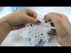 How to Crochet a Simple and Easy Snowflake. In this video I will teach you how to make this beautiful snowflake. You will need a crochet hook that fits your yarn or one size smaller if you crochet loosely. I am using Bernat Softee Baby Yarn and an F ( . Crochet Snowflake Pattern, Crochet Stars, Christmas Crochet Patterns, Holiday Crochet, Crochet Snowflakes, Crochet Flowers, Crochet Angels, Crochet Christmas Decorations, Crochet Decoration