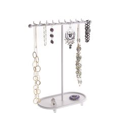 Necklace Holder Organizer Rack Bracelet Holders, Necklace Holder, Jewelry Holder, Jewelry Necklaces, Earring Holders, Jewelry Storage Solutions, Jewellery Storage, Jewelry Organization, Ear Studs