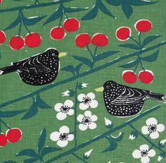 scandinavian fabric vtg retro DIY cushion curtains 50s cherry orchard almedahls