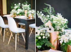 This botanical inspiration adds shine to any wedding reception. Flower Decorations, Wedding Decorations, Table Decorations, Botanical Wedding, Banquet, Wedding Reception, Greenery, Wedding Flowers, Wedding Inspiration