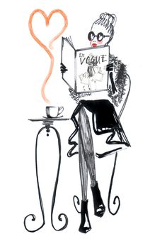 french girl with Vogue #frenchgirl #vogue #coffee #reading #paris #illustration #fashion