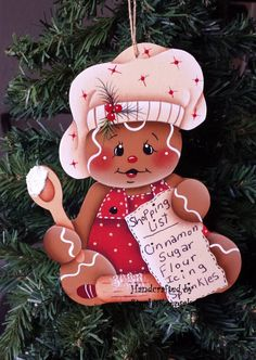 Handpainted Christmas Gingerbread Cookie by stephskeepsakes, $8.49