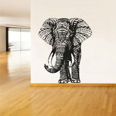 Wall Decal Vinyl Sticker Decals Art Decor Design Elephant Mandala Ganesh Indian Buddha Pattern Damask Bedroom Family Gift Dorm Modern (r294)