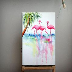 The Future Of Art – Investment Concepts – Buy Abstract Art Right Flamingo Painting, Flamingo Art, Oil Painting Abstract, Pink Flamingos, Flamingo Pictures, Oil Painting Pictures, Painting Inspiration, Wall Art Decor, Canvas Art