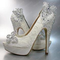 #DressWe - #DressWe Fashion Beading Butterfly High Heel Peep-Toe Wedding Shoes - AdoreWe.com
