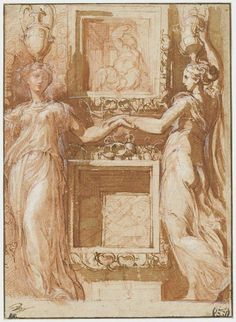 """#OnThisDay in 1540 #Parmigianino dies, 37 old """"Two canephores holding hands"""" #PrintsDrawings ☛http://www.louvre.fr/en/oeuvre-notices/two-canephores-basket-carriers-holding-hands-either-side-boxes…"""