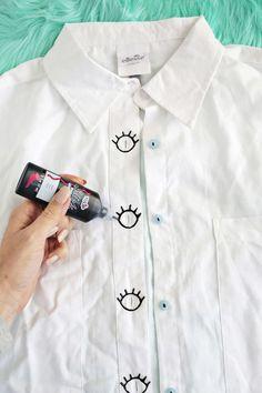 Eye Spy A Button-Down DIY Cute! Add Eye Design to Your Buttonholes (. Eye Spy A Button-Down DIY Cute! Add Eye Design to Your Buttonholes (click through for tutorial) Diy Clothing, Custom Clothes, Clothes Refashion, Diy Your Clothes, Design Your Own Clothes, Designing Clothes, Shoe Refashion, Hit Moda, Diy Camisa