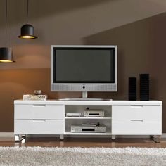 Mueble de Tv con 4 cajones y 1 estante central. DM lacado blanco. Medidas: 180x45xH55