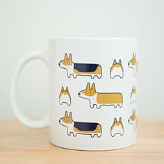 Corgis All Around ceramic mug. Pembroke Welsh Corgi. Tri, red and white, corgi butt.