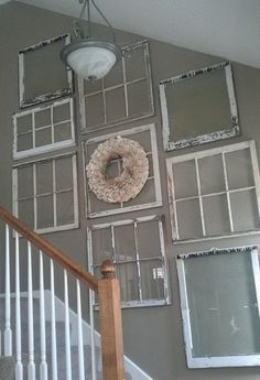 Beautiful 51 Creative decorating ideas for old windows. like old windows, like the display going up the stairs The post 51 Creative decorating ideas for old windows. like old windows, like the displa… appeared first on Derez Decor . Sweet Home, Diy Casa, Old Doors, Front Doors, Pine Doors, Front Entry, Barn Doors, Style At Home, Home And Deco