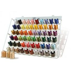 Brother 63-Thread High Quality Embroidery Thread Set Collection with Metal Storage Rack - Quality Sewing & Vacuum