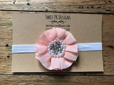 Pink flower with rhinestones headband