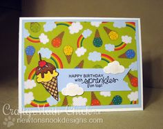 Ice Cream Birthday Card by Crafty Math-Chick | Summer Scoops Stamp set by Newton's Nook Designs