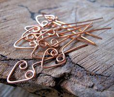 22 gauge Heart Head Pins  Artisan Copper Wrapped by NadinArtGlass