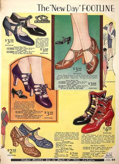 "questionableadvice: ~ shoe ad from 1929 (exact source unknown)reblogged from thewidowflannigan, originally at Flickr(click to enlarge)""I always like to provide complete information but I was unable to resist posting this anyway because of the Whoopee Booties at the bottom right. I don't think I've seen anything similar before. Does anyone recognize this catalog by any chance?"""