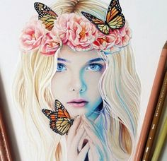 Imagem de drawing, girl, and butterfly