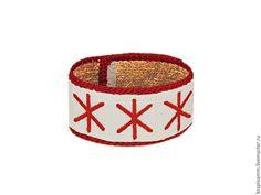 Купить Браслет из крапивы Жива. - ярко-красный, крапива, крапива волокна, крапива ткань