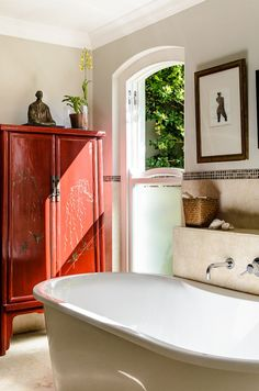 Asian Flair/we could use our red unit in a bathroom, it would look great, especially with the other subtle colours.