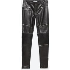 Zara Faux Leather Biker Trousers (290 RON) ❤ liked on Polyvore featuring pants, bottoms, zara, jeans, leggings, black, faux leather pants, black pants, zara trousers and imitation leather pants