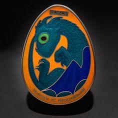 Antique Silver 3D  Dragon Egg  Sample Geocoin - Geocaching - Non Trackable