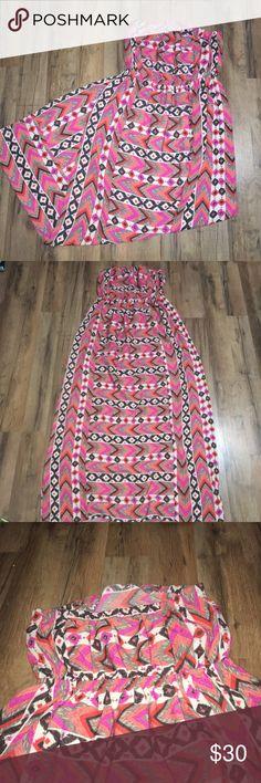 Aztec geometric chevron print strapless maxi dress Measurements coming soon one clothing Dresses Maxi