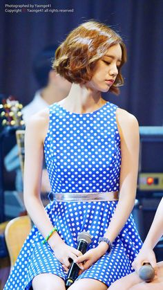Girl's Day HyeRi looking completely adorable... I love the hair and it looks great with the polka-dots.