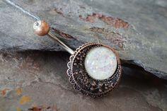 Belly Button Rings Opal Copper Moon