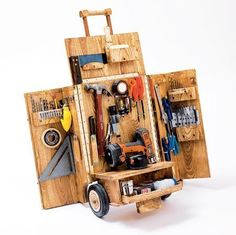 kick ass little work pull cart. | woodworking | Pinterest | Tool Cart, Tools and Tool Storage