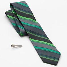 Apt. 9 Big Stripe Skinny Tie & Tie Bar Set - Men