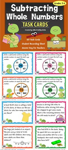 There are sixty (60) task cards in this set created to practice students' skills on how to subtract whole numbers with and without regrouping. $